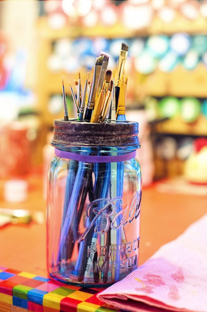 paint brushes, colorful, artist